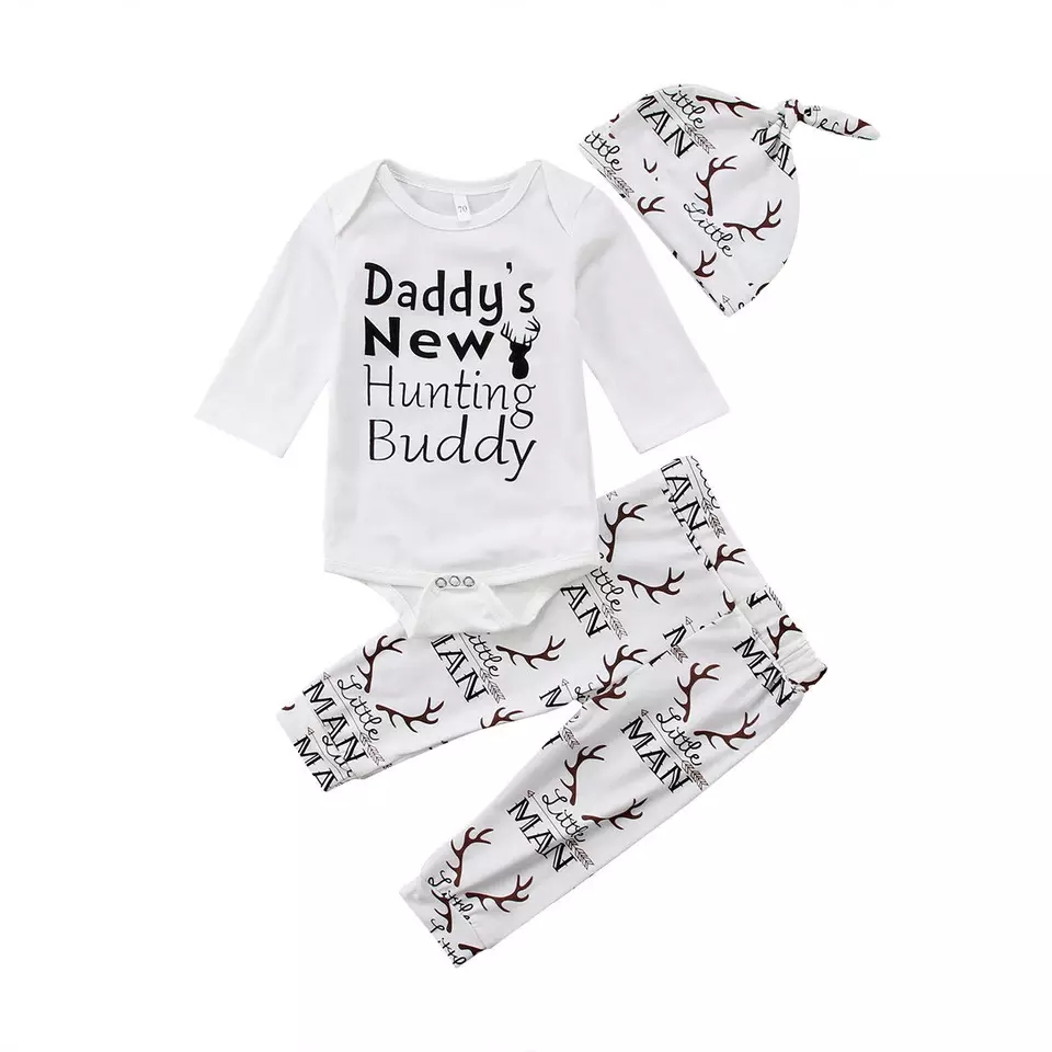 Baby Clothes Set 3 Pcs Set Long Sleeves Letter T-Shirt Tops Rainbow Pants Hat Outfit Clothing