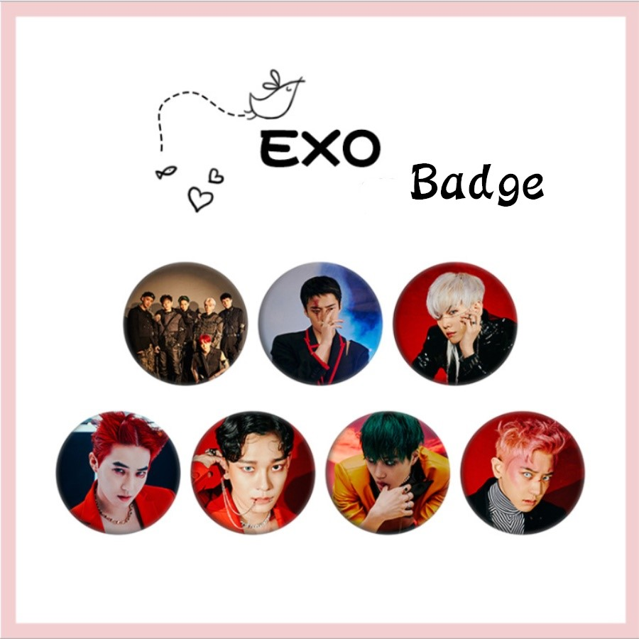 Kpop EXO Obsession Round Badge For Hat Bag Chanyeol Baekhyun Fashion Chest Pins Brooches