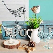 1Pc Alambre de hierro de metal pájaro figura artesanal artificial con diseño hueco de moda casa muebles de escritorio de la tabla de la decoración regalo