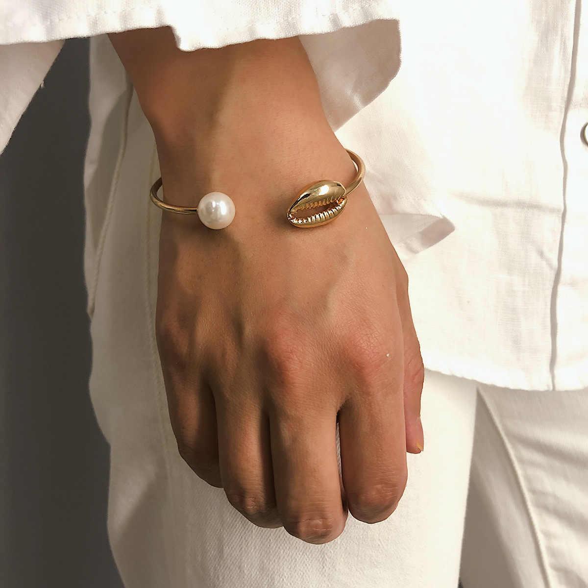 Bohemian ouro conch shell cowrie concha abrir cuff pulseiras bangles verão charme simulado pérola jóias boho
