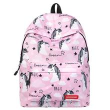 Cute Unicorn Backpack for School Teenage Girl Printing Pink Large Capacity Travel Bag Lightweight Student Bookbag