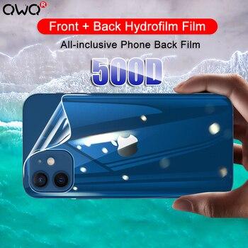Película de hidrogel de cubierta completa 500D para iPhone 11 12 Pro MAX mini Protector de pantalla para iPhone 7 8 6s 6 Plus SE 2020 XR X XS no de vidrio