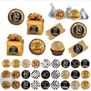 Image 3 - Leeiu 216pcs Gold Black 30th Birthday Sticker Cheers 30 Years Birthday Party Decoration Gift Box Paper Sticker Adult Party