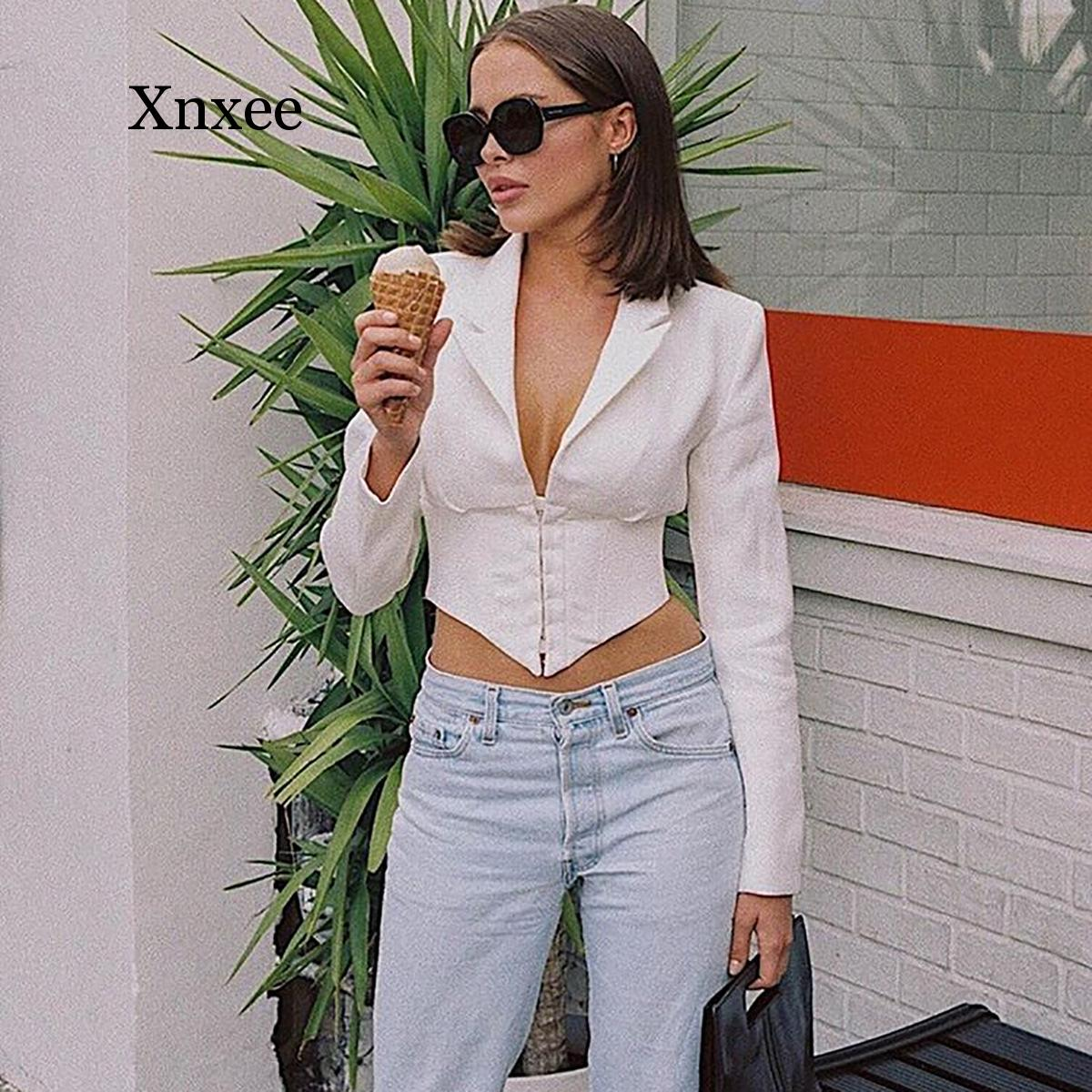 Deep V Long Sleeve White Blazer Women Sexy Office Wear Jacket Vintage Work Cardigan Coat Autumn white top Girdle Short top