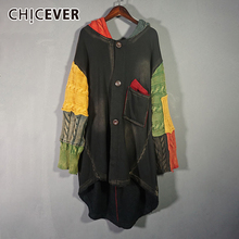Patchwork Coat CHICEVER Denim Clothing Hooded Long-Sleeve Vintage Fashion Women Casual