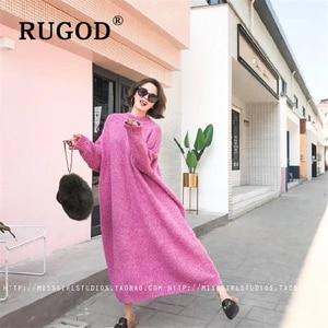 Image 5 - RUGOD abito maglione oversize moda donna coreano solido girocollo manica a pipistrello maxi abito lungo lavorato a maglia 2019 capispalla Casual