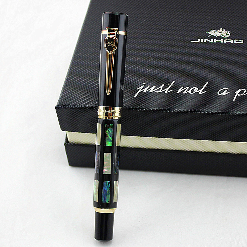 With Real Sea Shell Luxury Fountain Pen /roller Ball Pen Jinhao 650 Black 18kgp Medium
