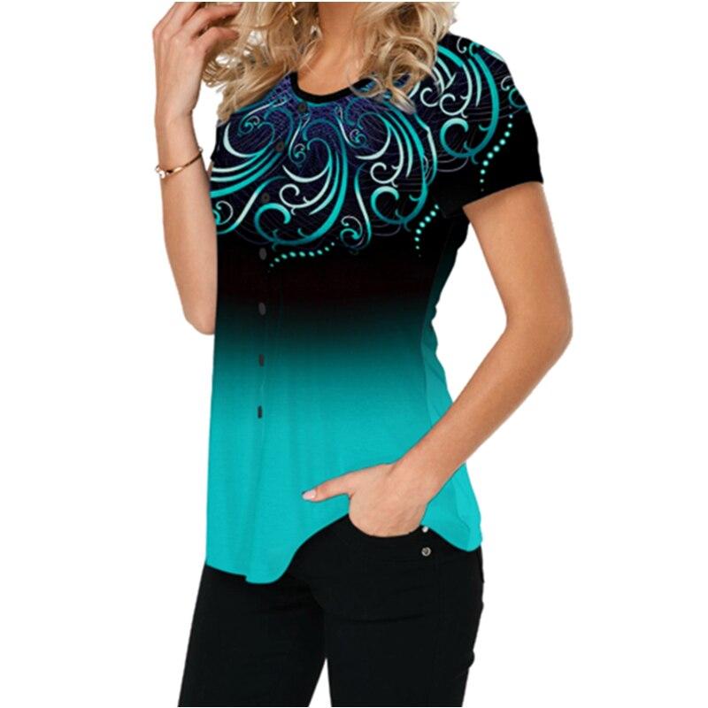 Women Casual Short Tshirts 2020 Plus Size 5XL Gradient Color Print Summer Tshirt O-Neck Button Tees Top Femme Loose Shirts