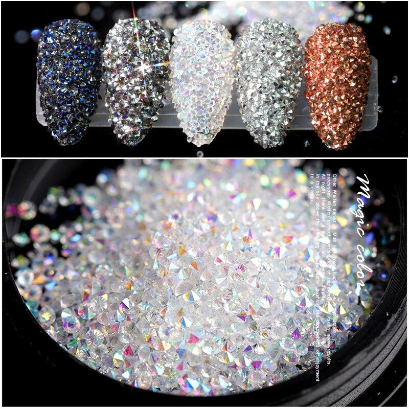 3D украшения для ногтей Стразы УФ-гель с микро-цирконами кристаллы Камни Цирконий на ногтях Декор