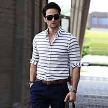 Men Vintage Striped Slim Fit Long Sleeve hawaiian shirt Casual Button Down Dress formal shirts business men camisa masculina(China)