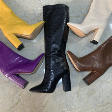 2020 autumn Faux Leather Women Knee High Boots Pointed Toe Boots Women Long Chunky Block High Heel Boots size 41 42 43