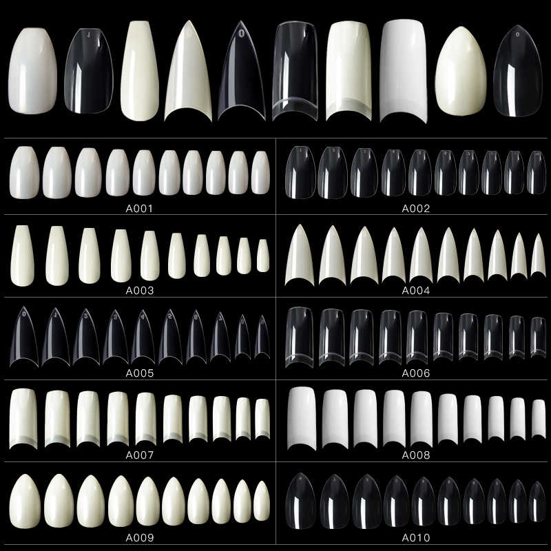 500/120/20pcs Wit Clear Franse Valse Acryl Nail Tips Transparant Volledige Cover Manicure Fake UV Gel manicure Fake Nail Tool