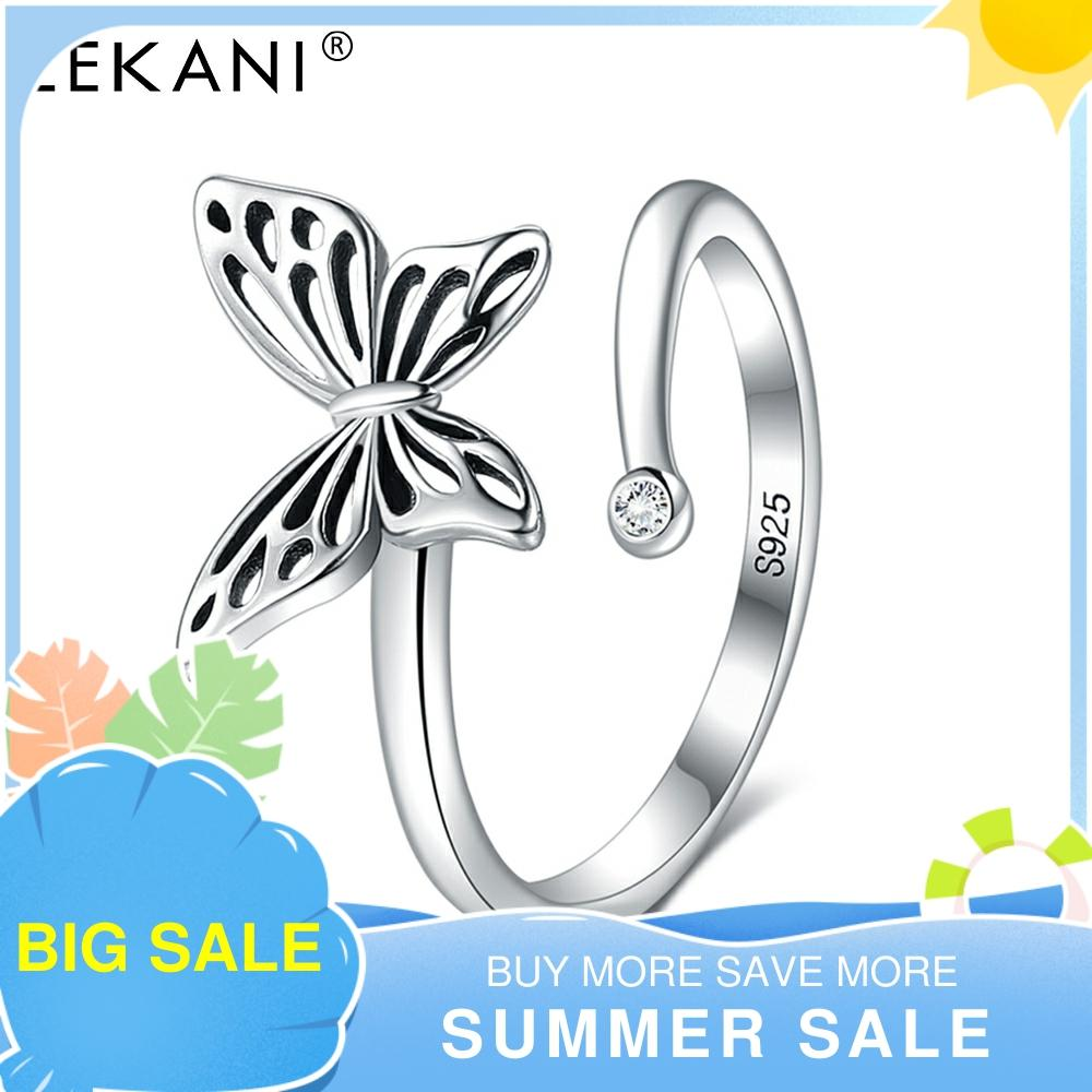 LEKANI 925 Sterling Silver Ring Butterfly Open Rings For Women Vintage Punk Cute Cat Pearl Rings For Girls Wedding Jewelry 2021