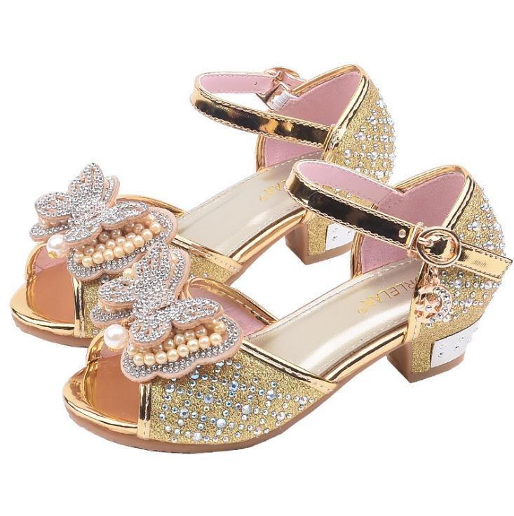 Dei bambini delle ragazze di Cristallo di bling bordare scarpe Ragazze Pattini della principessa Scarpe da ballo sandali 26-37 GZX01