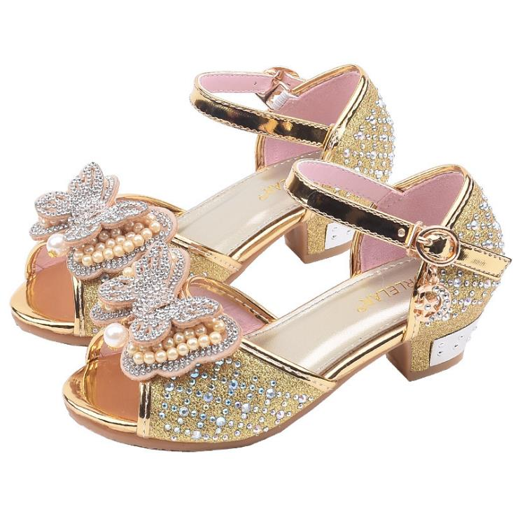 JY Children Girls Crystal Bling Bead Shoes Girls Princess Shoes Dance Shoes Sandals 26-37  GZX01