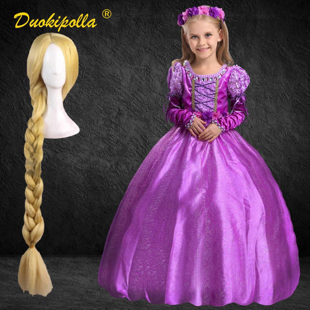 もつれた女の子ラプンツェルドレスクリスマス休日の子供ファンシーパフ袖プリンセスドレスハロウィーン衣装の女の子ブティックの服