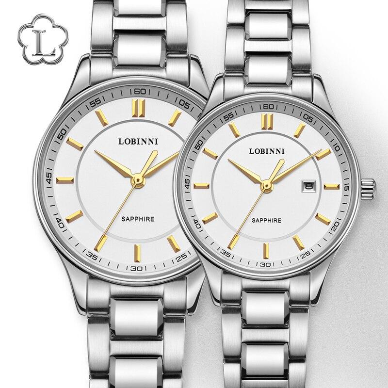 LOBINNI Luxury Switzerland Brand Japan Citizen Quartz Movement Couples Watches Man Wristwatch Lovers Clock Woman Sapphire Watch