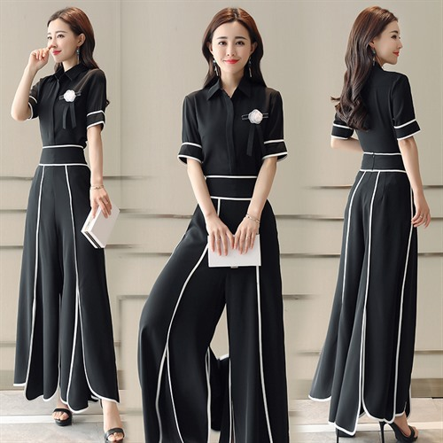 2018 New Style WOMEN'S Dress Summer Wear Two-Piece Pants Chiffon Short Sleeve High-waisted Slimming Loose Pants Casual Fashion W