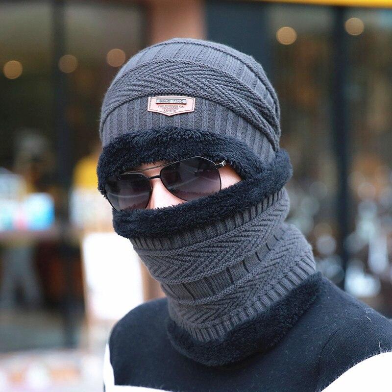 Men Fleece Winter Hats Scarf