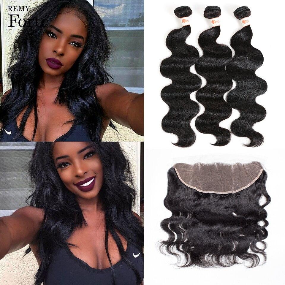 Remy Forte 30 Inch Bundles With Frontal Body Wave Bundles With Closure Peruvian Hair 3 Bundles Sleek Ponytail Fast USA