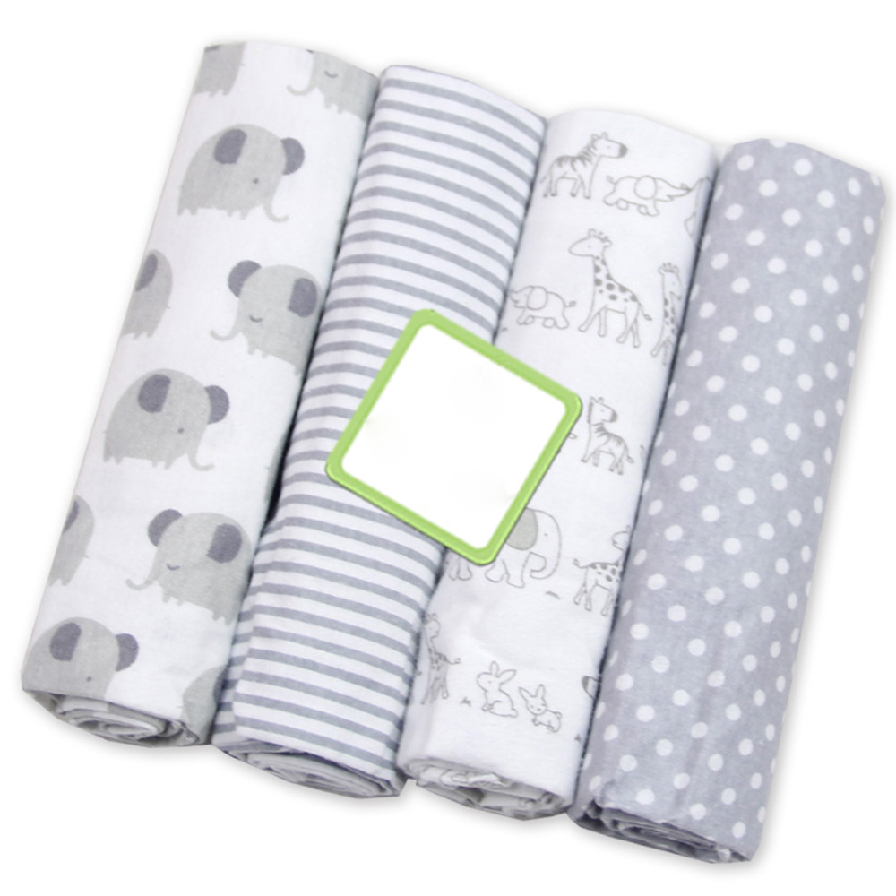 4 Pcs/lot Muslin Diapers Cotton Baby Blanket Soft Baby Blankets Newborn Flannel Receiving Swaddle Printed Muslin Swaddle Wrap