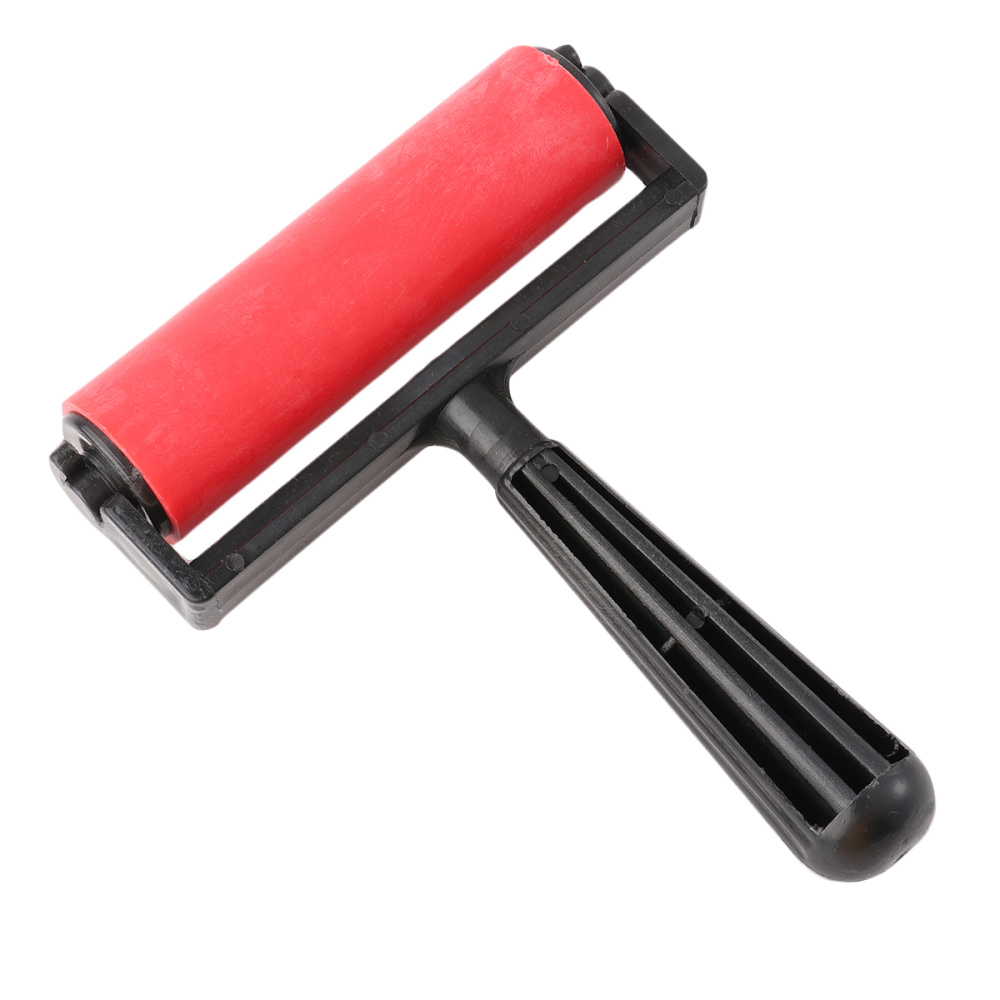 10cm Printmaking Rubber Roller Brayer Craft Projects Ink and Stamping Tools (Red)