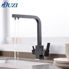 Swivel Drinking Water Faucet 3 Way Water Filter Purifier Solid Brass Kitchen Mixer Water Tap Cold & Hot Water Kitchen Sinks Taps xoxo filter kitchen faucet drinking water blcak deck mounted mixer tap 360 rotation brass pure filter kitchen sinks taps 81028