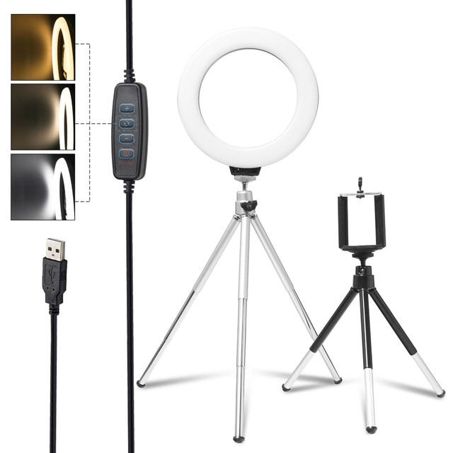 6 אינץ/16cm מיני טבעת אור Selfie LED טבעת מנורה עם שולחן עבודה חצובה טלפון Stand מחזיק עבור Youtube איפור וידאו אור
