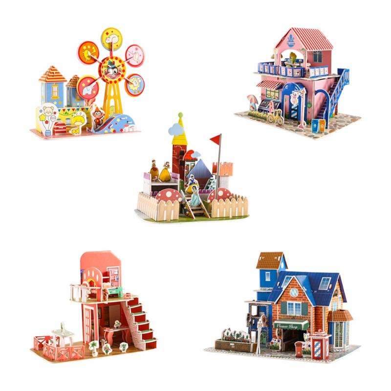 3D DIY Composite Paper Puzzle Stereoscopic Jigsaw Cartoon Castle House Model Children Kid Presents Early Educational Toy
