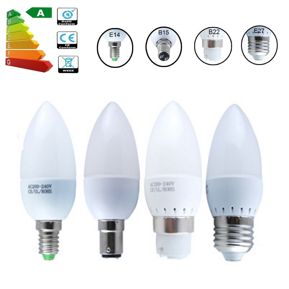 85-265V LED Candle Bulb E14 E27 B15 B22 LED Spotlight Chandlier Lamp Crystal Lamp 3W 5W Ampoule Bombillas Candle Light Replace
