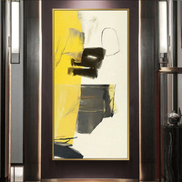 Abstract Decorative Painting Yellow Line Art Vertical Painting Large Size Hanging Painting Modern Minimalist Entrance Corridor H