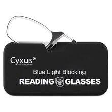 Cyxus كليب على نظارات للقراءة مكافحة الأزرق عدسات إضاءة للنساء الرجال النظارات + 1.0 + 1.5 + 2.0 + 3.0 الديوبتر 2606