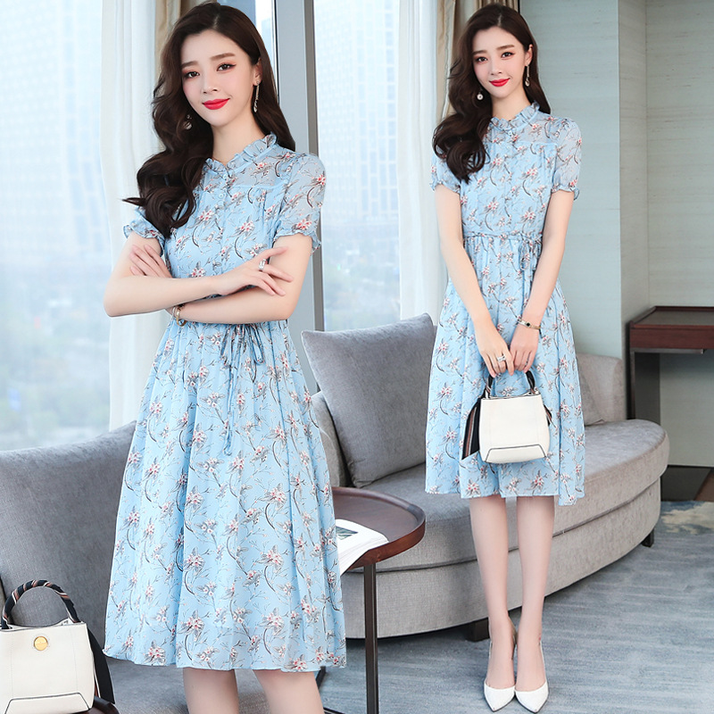2019 New Style Summer Wear Blue Chiffon Floral-Print Long Skirts Short Sleeve Mid-length Dress WOMEN'S Dress Summer Skirt