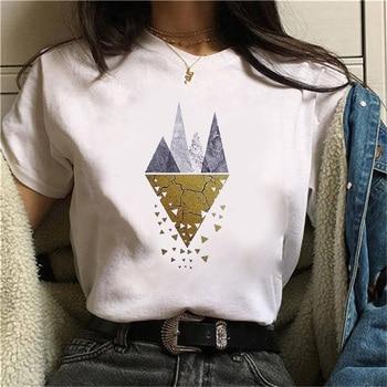 Beautiful geometry printed t shirt women 90s Graphic T-shirt Harajuku Tops Tee Cute Short Sleeve animal tshirt Female Tshirts 12