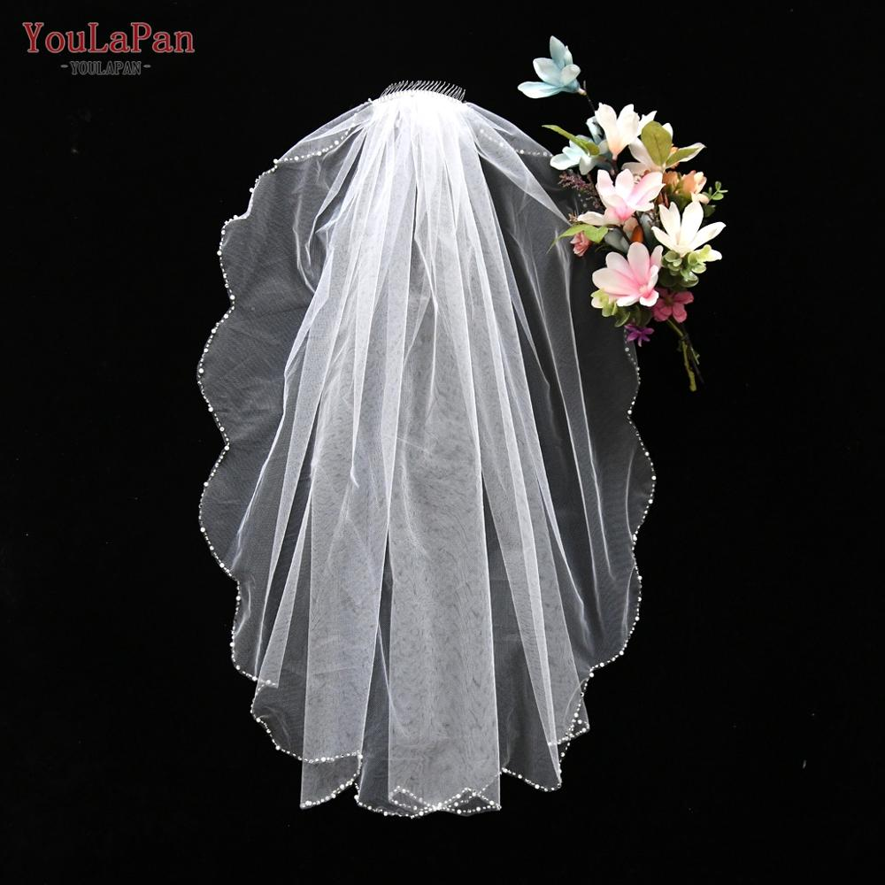 YouLaPan V33 Luxury White lvory 1 Tier Fingertip Wedding Veils Crystal Pearls Cut Edge Bridal Veil With Comb bridal accessories