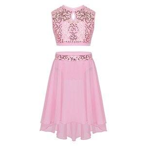 Image 2 - Costume de danse lyrique pour filles, robe de Ballet, haut court à paillettes, sans manches, avec ourlet plongé, ensemble de jupe en mousseline pour danser