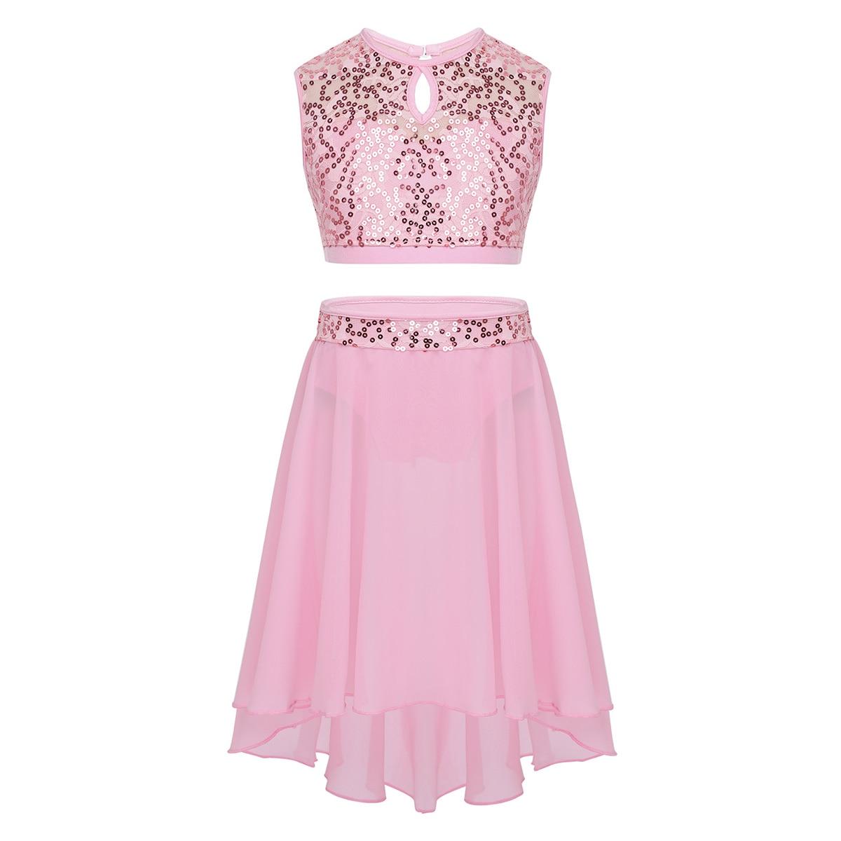 Image 2 - Girls Lyrical Dance Costumes Ballet Dress Sleeveless Sequined Crop Top with Dipped Hem Chiffon Skirt Set for Celebration DancingBallet   -