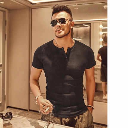 T-shirt Mannen Merk Fashion Henry T-shirt Mens Solid Casual Droge Slim Fitness Wit Shirts Tops Tee Bodybuilding T4083