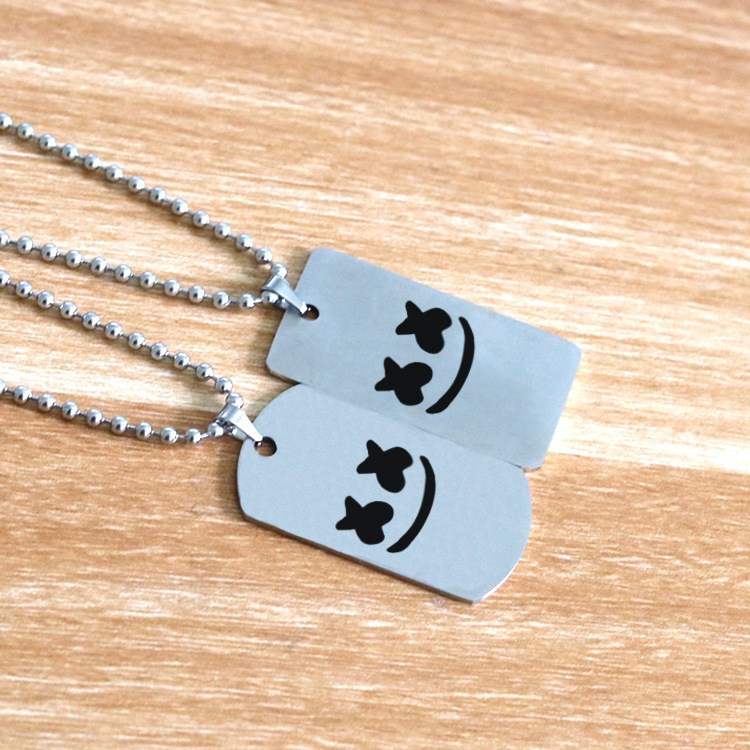 Cross Border For Hot Sales Hip Hop Electronic Music Star Marshmello Tag Stainless Steel Cotton Candy DJ Necklace