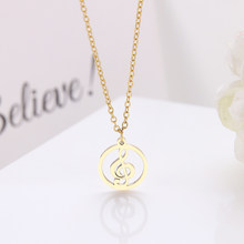 DGIDDK Stainless Steel Necklace Treble And Bass Clef Necklace Round Ladies Infinity Love Charm Pendant Necklace Jewelry D123(China)