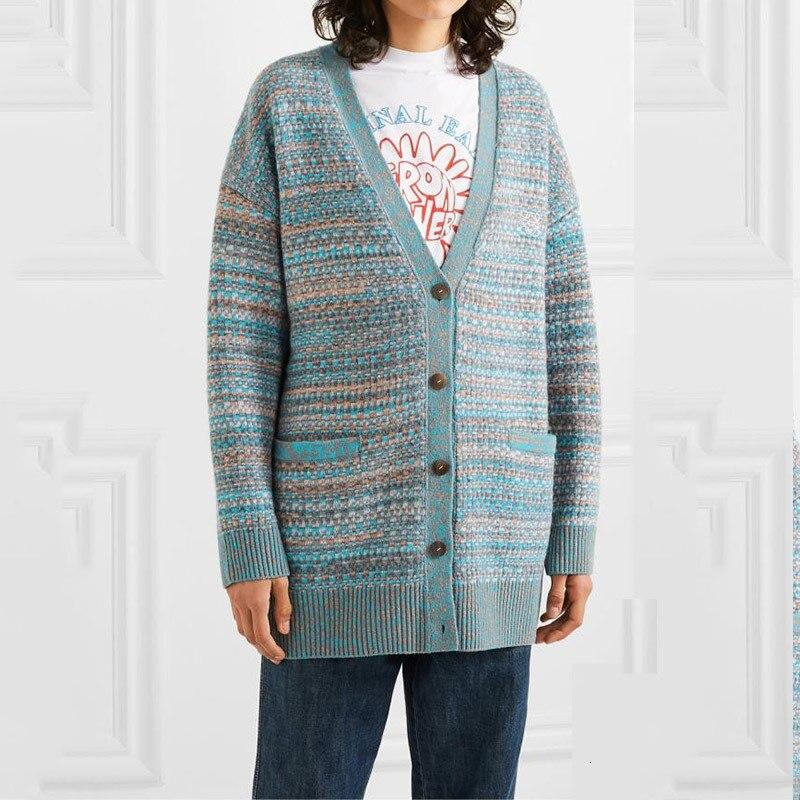 Femmes Long Cardigan 2019 automne hiver Hit couleur Dot bleu col en V simple boutonnage Long Cardigan femmes épais lâche Long tricot manteau