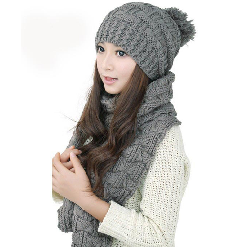 2 Pcs/set Fashion Warm Autumn Winter Wool Scarf Hat Set For Women Thicken Windproof Knitted Scarf Female Beanie Cap Scarf