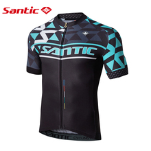 Santic Men Cycling Short Jersey Pro Fit SANTIC N-FEEL Antislip Sleeve Cuff Road Bike MTB Clothings C02119