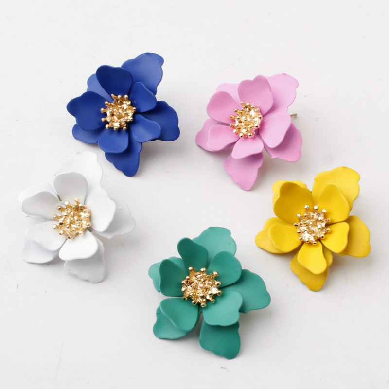 Stud Earrings For Women Girls Valentine Day Gift Vintage Matte Spray Paint Flower Earring Wedding Jewelry Korean Earrings