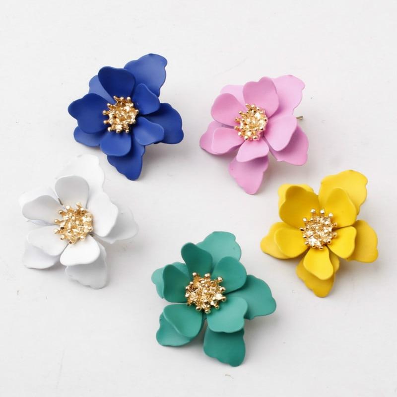 Stud Earrings For Women Girls Valentine Day Gift Vintage Matte Spray Paint Flower Earring Wedding Jewelry Korean Earrings