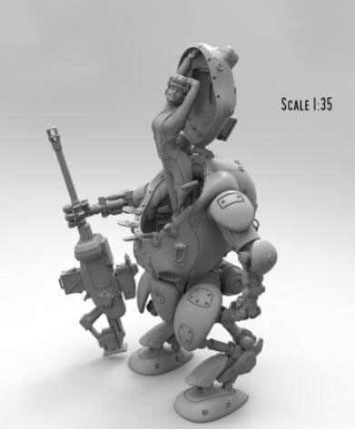 1/35 масштаб смолы фигурка леди и робот