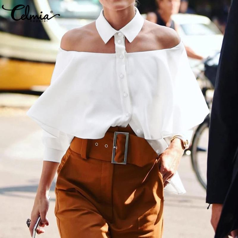 S-5XL Celmia Sexy Halter Women Shirt 2020 Summer Ruffles Fashion Blouse Off Shoulder Casual Solid Office Lady Tops Party Blusas
