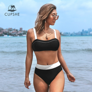 Image 1 - CUPSHE שחור ולבן Bandeau גבוהה חיכה ביקיני סטים סקסי מרופד בגד ים שתי חתיכות בגדי ים נשים 2020 חוף רחצה חליפות