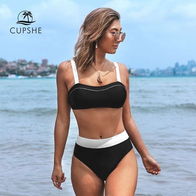 CUPSHE Black and White Bandeau High Waited Bikini Sets Sexy Padded Swimsuit Two Pieces Swimwear Women 2020 Beach Bathing Suits