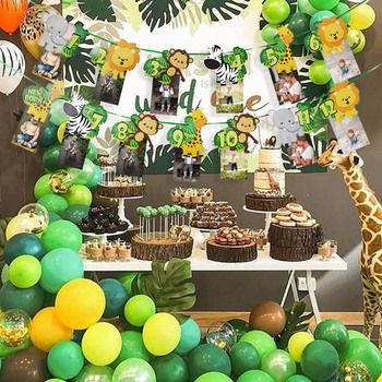 1st Birthday Party Decorations Kids Aniaml Banner Palm Leaf Balloons Safari Jungle Party Tropical Party Supplies Baby Shower jungle party green latex balloons woodland animal palm leaf foil balloons safari party baloons birthday party decor baby shower